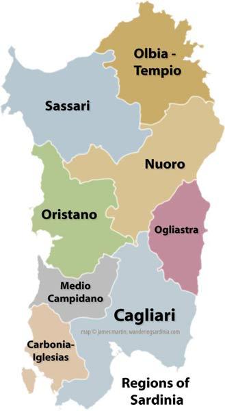 Sardinia Provinces Map Wandering Sardinia