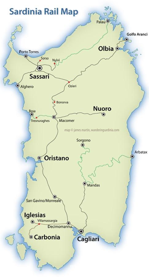 Sardinia Rail Map Ferrovie della Sardegna Wandering Sardinia